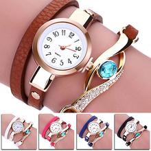 Lady Blue Eye Infinity Multilayer Faux Leather Charm Bracelet Quartz Wrist Watch SMT25 3Y3FD