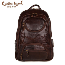 Cobbler Legend Famous Brands 2016 Men Large Capacity Cow Leather backpack Big Size Travel Bags backpacks student school bags ##