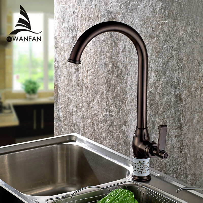 Free Shipping High Faucet Long Spout Oil-rubbed Bronze Bathroom Basin Sink Faucet Mixer Tap Single Handle Deck-mounted SM-99603(China (Mainland))