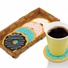 Hot Sale 4Pcs Round Donut Coasters Drink Bottle Beer Beverage Cup Mats cup mat silicone coaster posavasos(China (Mainland))