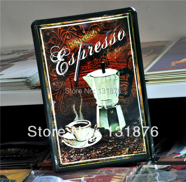 20 30cm coffee poster espresso pot pub poster metal iron for Iron accents promo code