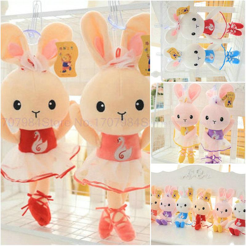 wholesale 40cm Cute Dress Rabbit Plush Toys Girl Rabbit Cloth Doll Stuffed plush Baby doll Ballet Rabbit doll birthday gift(China (Mainland))