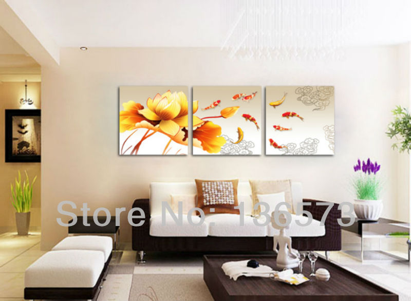 Handmade koi fish canvas art 3 piece paintings yellow for Contemporary wall art for living room