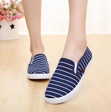 Women Stylish Casual New 2016 HOT Sale Spring Summer Classical Cloth Striped Design Breathable Fashion Flat Round Toe shoes L020