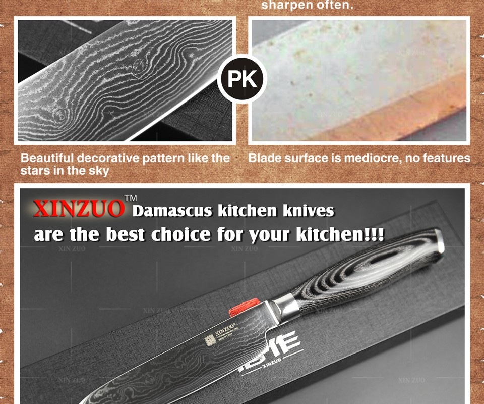 "Buy XINZUO 5"" santoku knife Japanese Damascus kitchen knives Japanese VG10 chef knife double forged k133 wood handle FREE SHIPPING cheap"