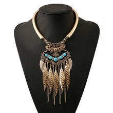 Buy Fashion Bohemian Gypsy Ethnic Choker Collar Vintage Maxi Statement Necklaces & Pendants Beads Leaf Tassel Jewelry 2016 for $2.49 in AliExpress store