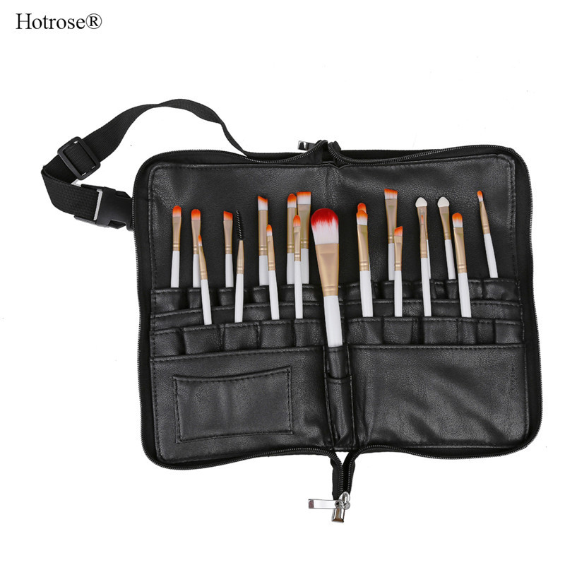*US Ship* 28 Pockets Professional Cosmetic Makeup Brush Apron Bags Artist Belt Strap Holder, Makeup Brush PU Leather Storage Bag(China (Mainland))