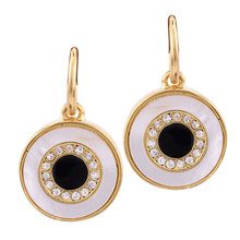 New Fashion Design Shiny Crystal Gold\Silver Plated Alloy Round Pendant Enamel Statement Dangle Earrings Jewelry For women(China (Mainland))