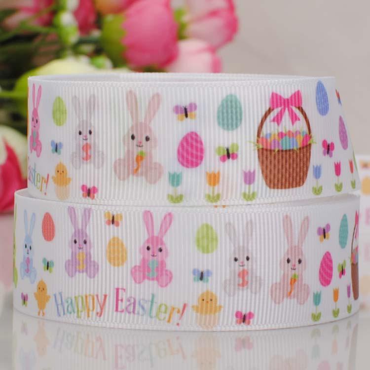 10 yards 7/8''22mm happy Easter Day rabbits printed grosgrain cartoon ribbon DIY series free shipping(China (Mainland))