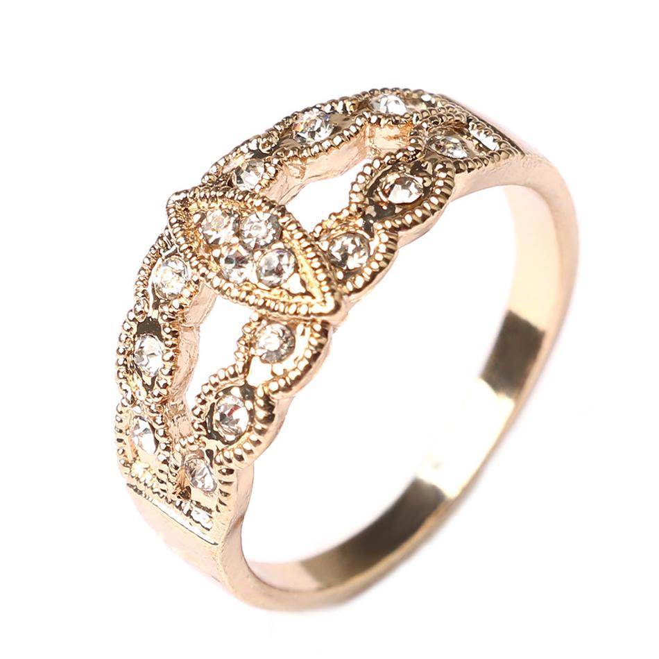 silver gold plated cz diamond wedding ring vintage leaf