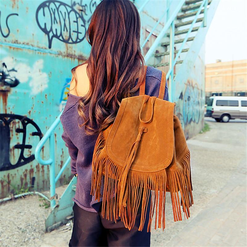 2015 Black Wine Brown Real Women Star Tassel Fringe Shoulder Messenger Backpack Women Famous Brand Cross Body Bag(China (Mainland))