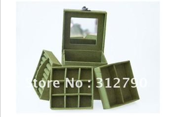 By CHINA POST - New 2012,Gift box,three layers jewelery,comestic box,more color ,4pcs/lot