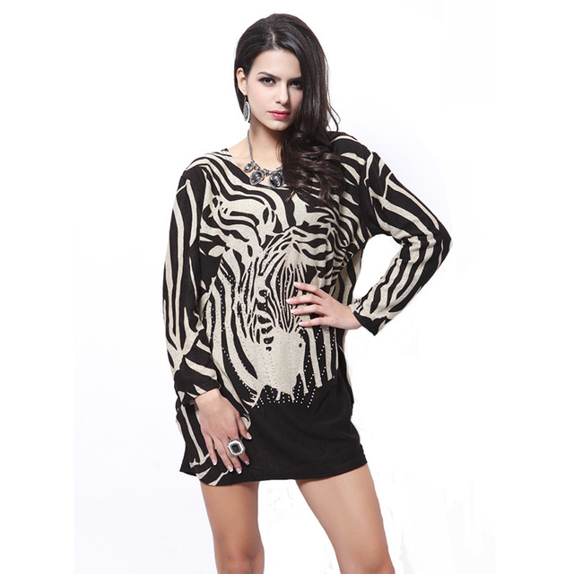Зебра черно-белой печать с длинными рукавами мини платье для женщин Большой размер свободный стиль осень зима женской одежды