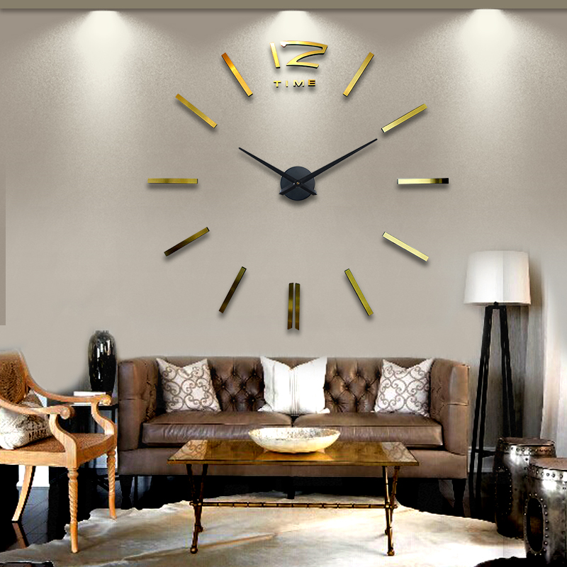 2014 home decor golden 3D diy big wall clocks morden design hours unique gift creative stickers single clock watch - YIWU E-MOON E-COMMERCE FIRM store