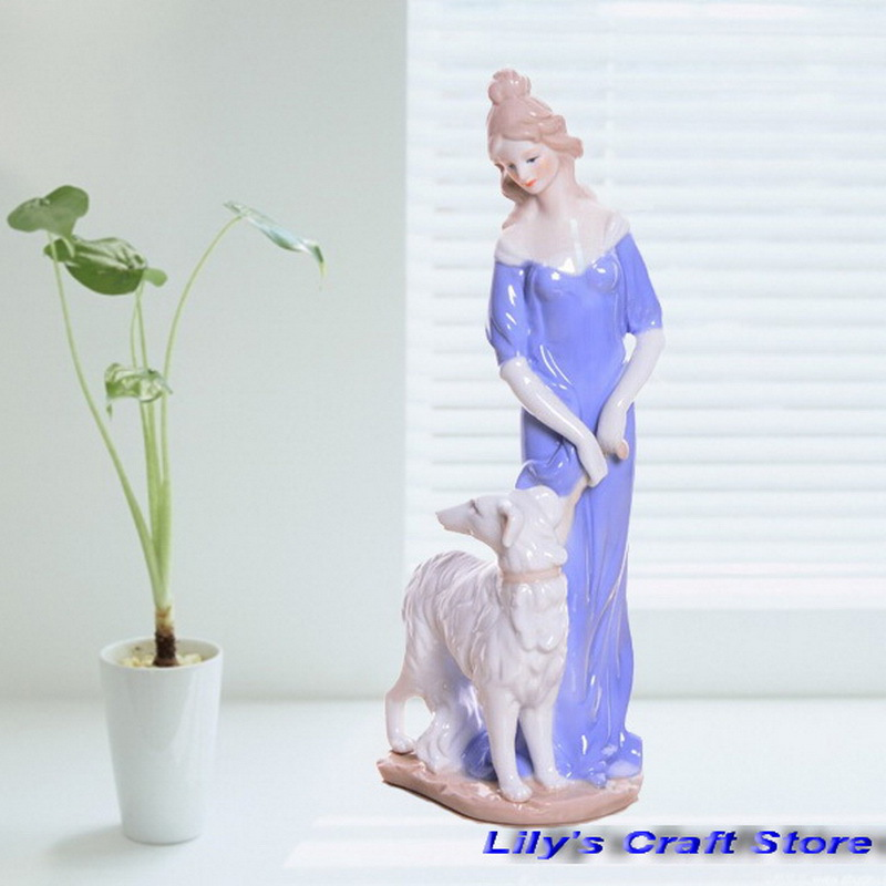 Ceramic Crafts Porcelain Figure Crafts Love Scene Girl and Her Lovely Dog House Ornaments and Room Decoration(China (Mainland))
