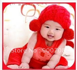 Free shipping 100pcs/lot Winter Knitted Baby Hat Infant Cap Kid Beanies Children Beret 2 Colors(China (Mainland))