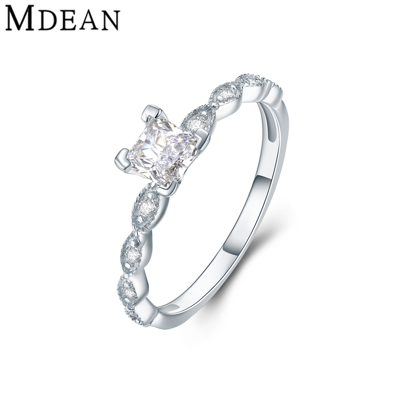MDEAN Pure Solid Genuine 925 Sterling Silver Jewelry Square CZ Diamond Wedding Rings for Women Bague Bijoux Femme MSR459(China (Mainland))
