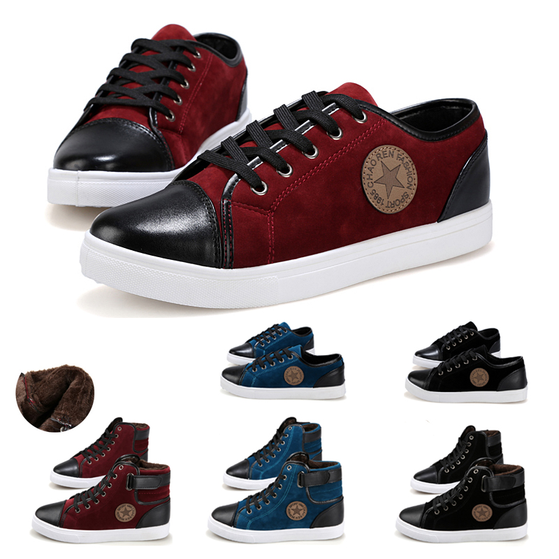 Free shipping 2015 New Fashion Autumn Winter Boots Women Men Low High Casual Canvas Shoes Nubuck Leather Flats Zapatillas(China (Mainland))