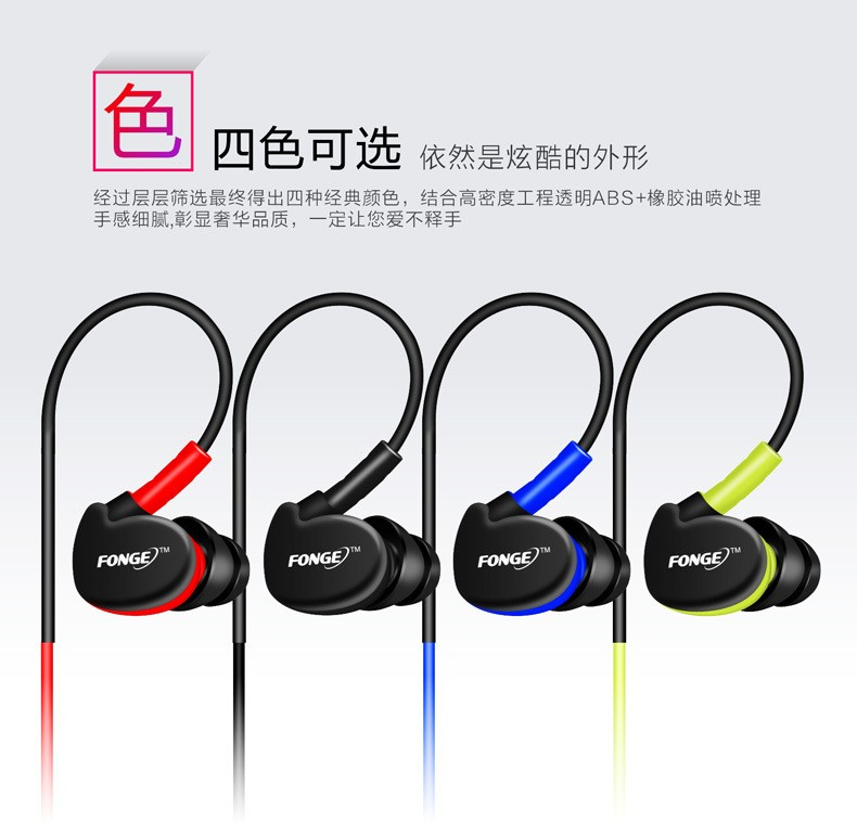 Brand Sport Earphone Running Headphone Anti-Sweat For iphone 4 5 6S Plus/Samsung Phone Laptop MP3 Player Stereo Earhook Headset