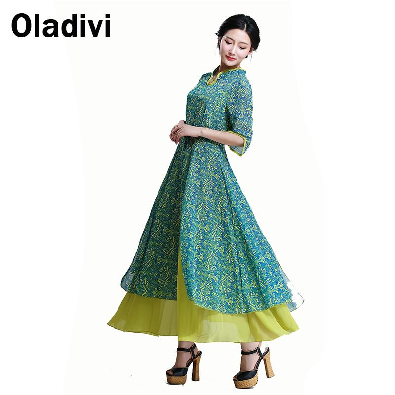 Women 2016 Spring Autumn Vintage Chinese Style High Slits Print Chiffon Patchwork Half Sleeve Long Maxi Dresses Novelty Dress XL - Oladivi official store