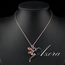AZORA Magic Snake 18K Rose Gold Plated Stellux Austrian Crystal Jewelry Pendant Necklace TN0089