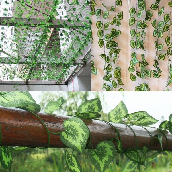 Hot! 2.5M Artificial Ivy Leaf Hanging Garland Flower Vine for DIY Home Wedding Floral Wall Garden Decor(China (Mainland))