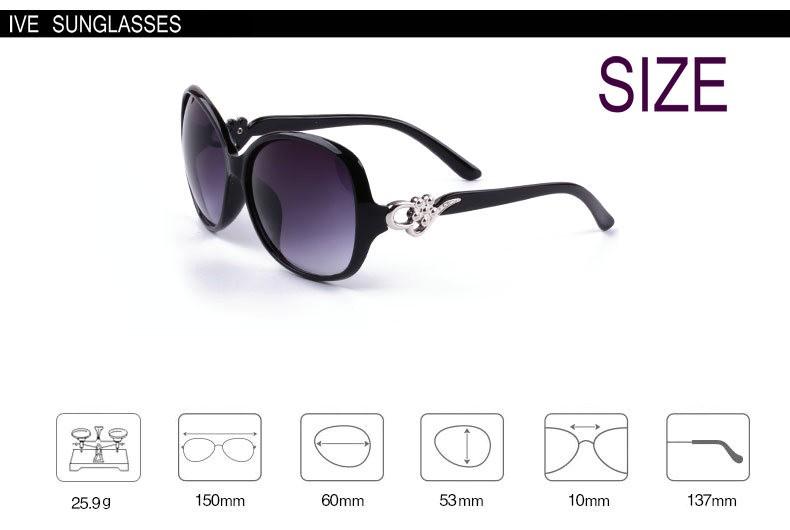 IVE Wholesale New Sunglasses Women Fashion Brand Designer Flower Decorate Glasses Large Frame Sun Glasses Women KD9568