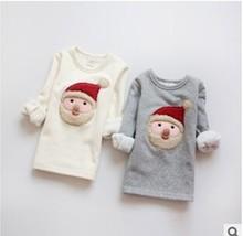new 2014 children Warm velvet render unlined upper garment cartoon Christmas  girl baby clothing children hoody girl clothes(China (Mainland))