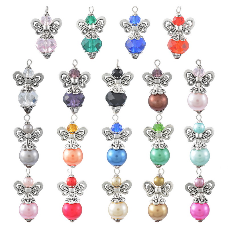 New Fashion Jewelry Handmade Angel Ball Pendants With Glass Beads Wings For Necklace Antique Silver Plated 2*1PC(China (Mainland))