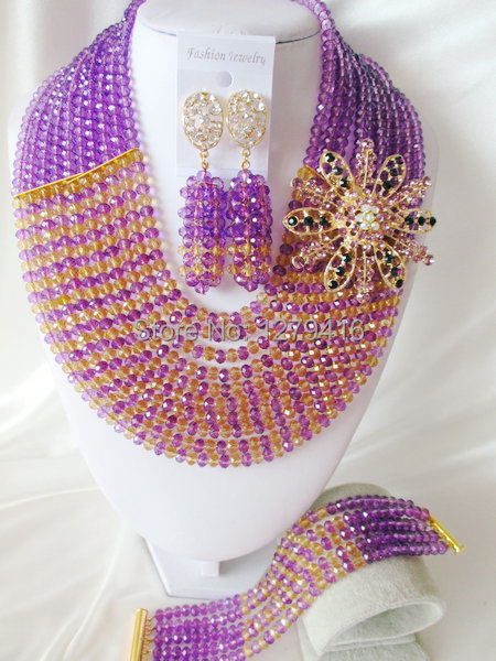 Fashion Nigerian African Wedding Beads Jewelry Set , Crystal Necklace Bracelet Earrings Set C0917<br><br>Aliexpress
