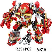 New Marvel Iron-man Anti-Hulk Armadura MK DIY Kit Modelo de Construção Crianças Brinquedo Educativo Montar Tijolos Brinquedos atacado(China)