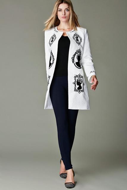 Топ мода новый 2016 осень зима модной пальто женской жаккардовые вышивка белый с ...
