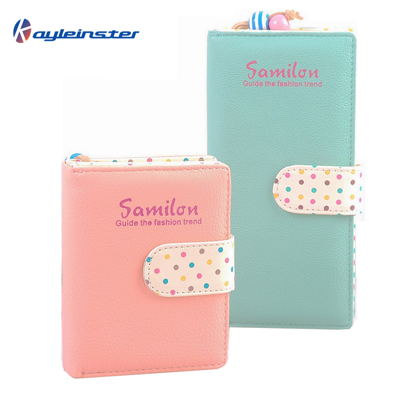 Гаджет  New 2015 Candy Colors Women Wallet Polka Dots Leather Zipper Wallet Multiple Cards Holder Clutch For Girls Women Standard Wallet None Камера и Сумки