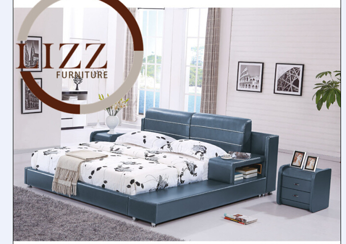 Home Bedroom Furniture Leather Bed H8319(China (Mainland))