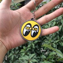 5pcs/Lot pvc mooneyes moon eyes yellow keychains men key cap chain chaveiro wholesale, Free Shipping