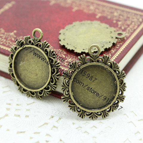 (20 pcs/lot) Antique Bronze Metal Alloy Cameo 30*34mm(Fit 20mm) Round Pendant Cabochon Settings Jewelry Pendant Blanks D0310(China (Mainland))
