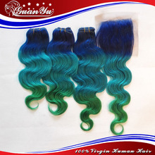 7A Grade Blue/Light Blue/Green Color Mongolian Body Wave Human Hair And Body Wave With Closure