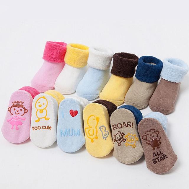 Новорожденного мультфильм толстые зима мягкая ребенка махровые носки