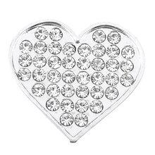 Bling Rhinestones Silver Tone Heart Shape Design 3D Emblem Car Sticker Discount 50(China (Mainland))