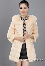 2014 New Arrival Women Winter Fur Coats  Whole Piece Real Rabbit Fur Long Coat With Fox Fur Collar Free Shipping YC069