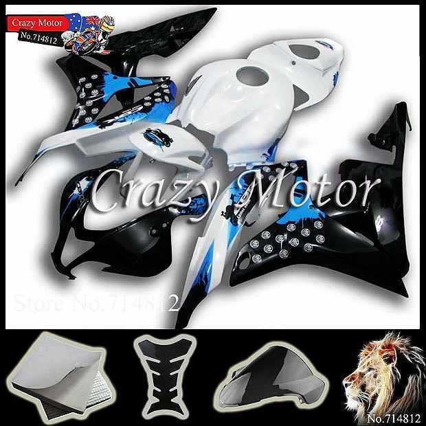* black graffiti blue scrawl CBR600RR 2007 2008 INJ 2007-2008 white Fairings Injection Body Fairing Kit Honda CBR 600 RR 200 - Crazy Motor store