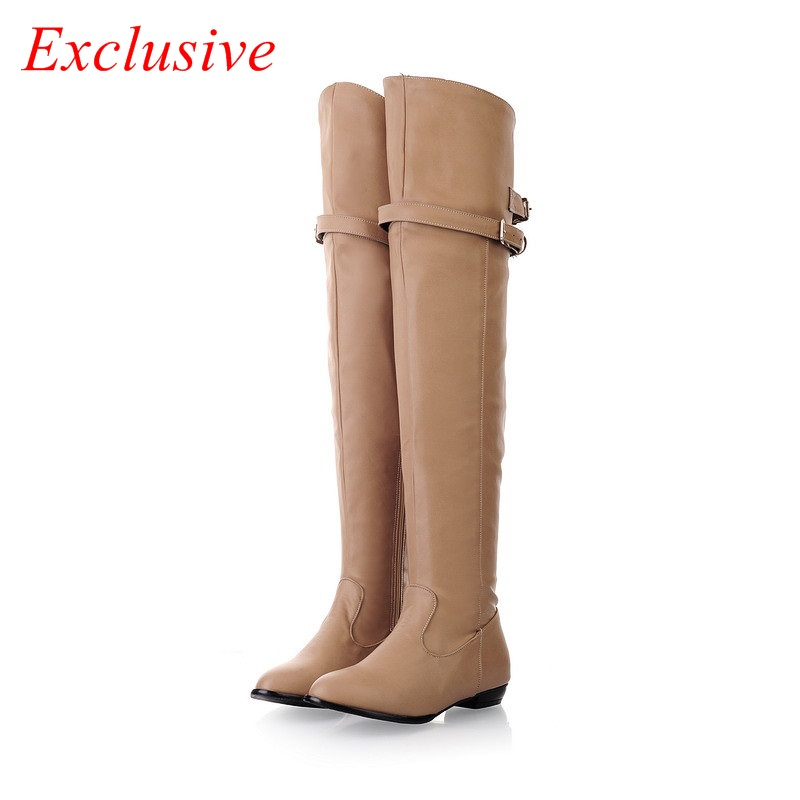 Low-heeled Knee Boots 2015 Latest Short Plush Winter High Boots Black Brown Heige Womens Boots Plus Size Low-heeled Knee Boots<br><br>Aliexpress