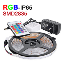 NEW 5M/lot RGB LED Strip Waterproof IP65 2835 SMD LED Light DC12V 60leds/m With 24Key IR Remote 2A Power Supply Christmas Lamps(China (Mainland))