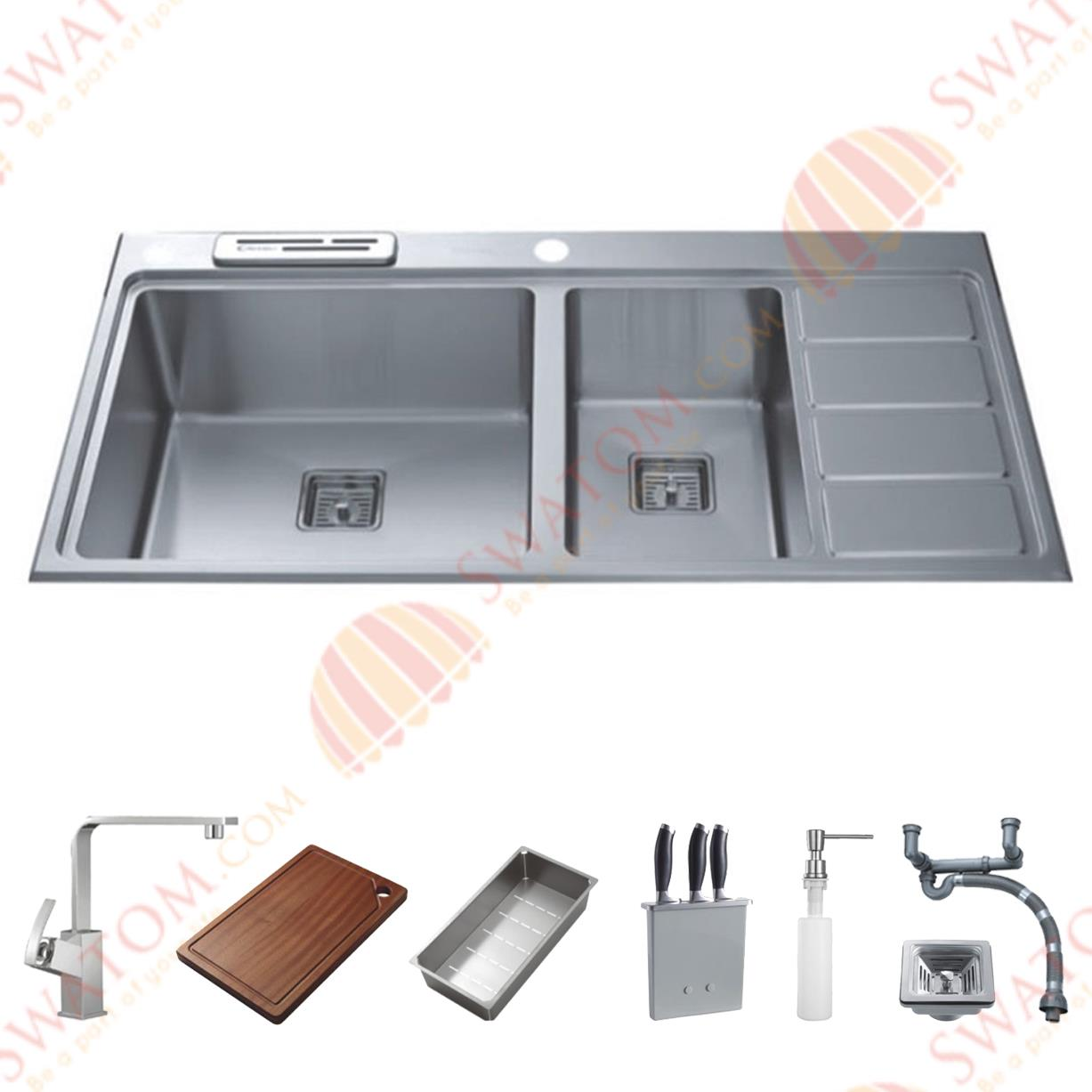38-Inch 12mm-Thickness Stainless Steel Topmount Drop in Double Bowl Kitchen Sink Free Accessories(China (Mainland))
