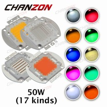 High Power LED 50W Chip Natural Cool Warm White Red Blue Green UV RGB IR Full Spectrum Grow Light 50 W LED Beads for Floodlight(China (Mainland))