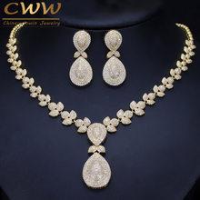 CWWZircons נובל מיקרו פייב מעוקב Zirconia אבנים יוקרה דובאי זהב צבע כלה חתונה שרשרת תכשיטי סטים לנשים T157(China)
