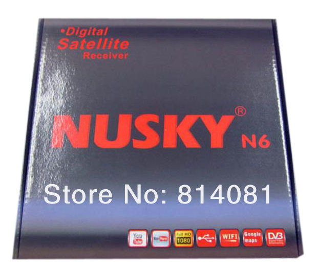 5pcs/lot Nusky N6 Twin Tuner Receiver/Nusky N6,Twin Tuners/SKS Free Account/Nagra 3/USB WIFI+Mini RS232+HDMI+AV