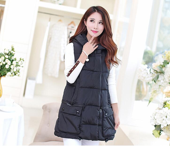 Female cotton vest coat 2015 autumn and winter new down cotton vest female Korean fashion Slim hooded medium-long vest