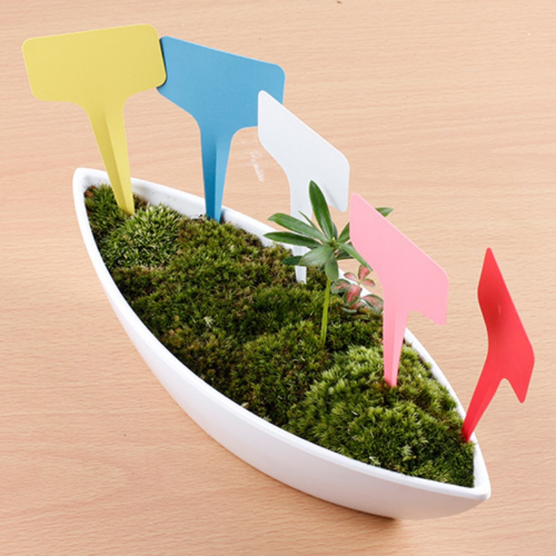 100Pcs 6x10cm Plastic T-type Plant Tags Markers Nursery Garden Labels(China (Mainland))