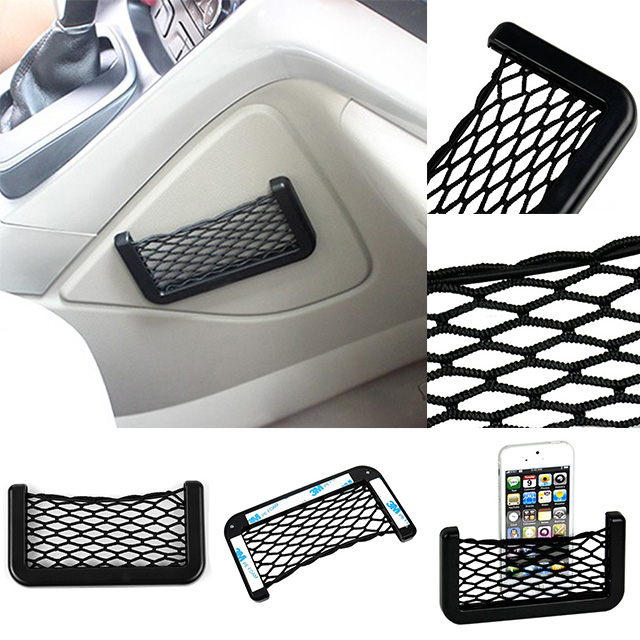 universal fit phone holder organizer car seat side back storage net bag pocket 6bei jcsb in nets. Black Bedroom Furniture Sets. Home Design Ideas